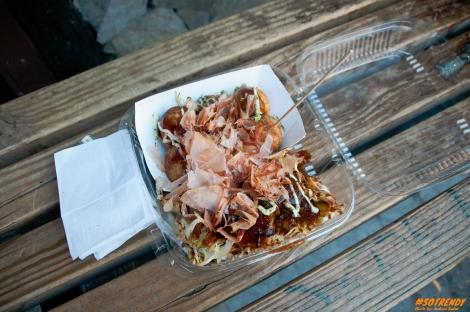 Takoyaki (octopus balls) on top and Okonomiyaki (Japanese pancake) on bottom